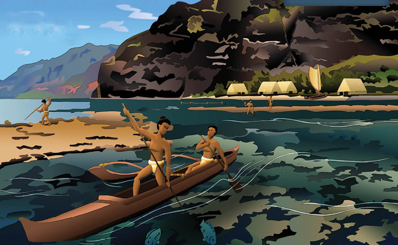 Ancient Hawaiians on the Na Pali Coast